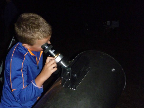 Boy Telescope Viewing