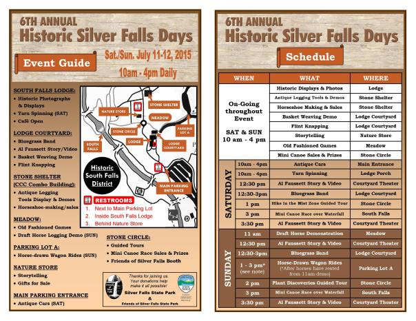 2015 Historic Silver Falls Days Event Guide 1 Page