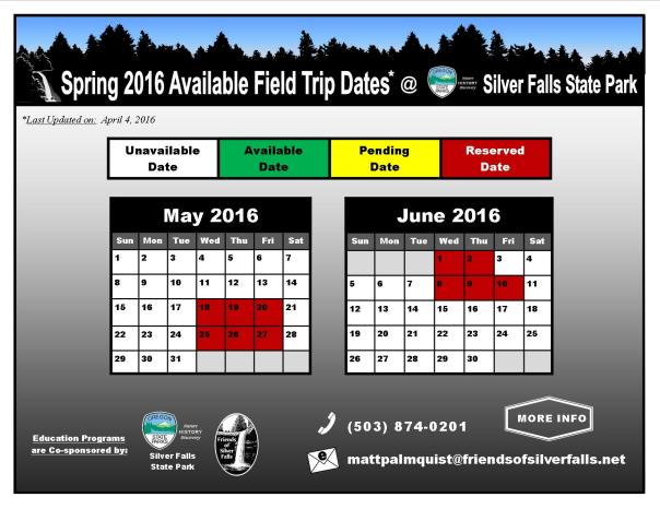 2016 Spring Available Dates 4-4