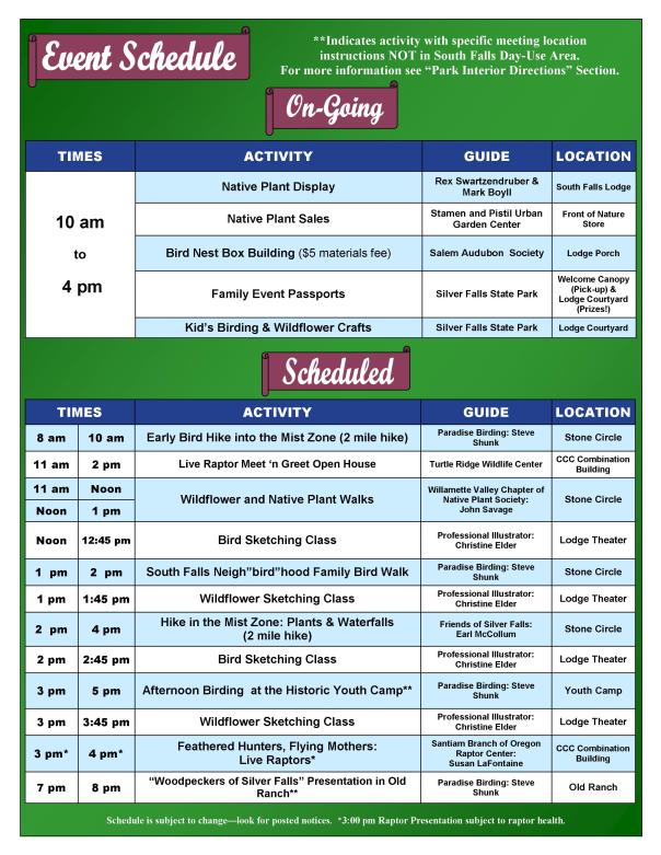 2016 Birding & Wildflower Festival Event Guide Page 2