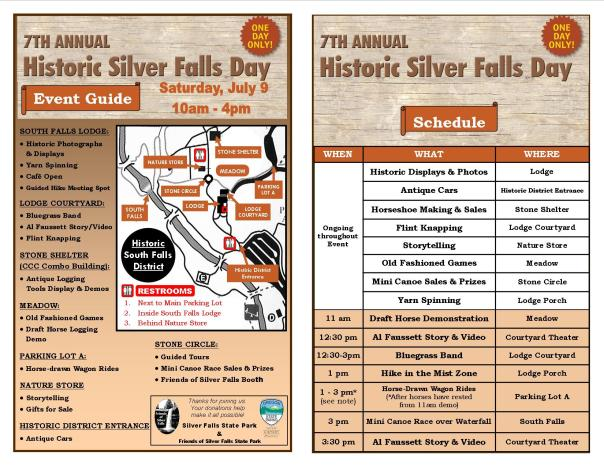 2016 Historic Silver Falls Day Event Guide FOR BLOG