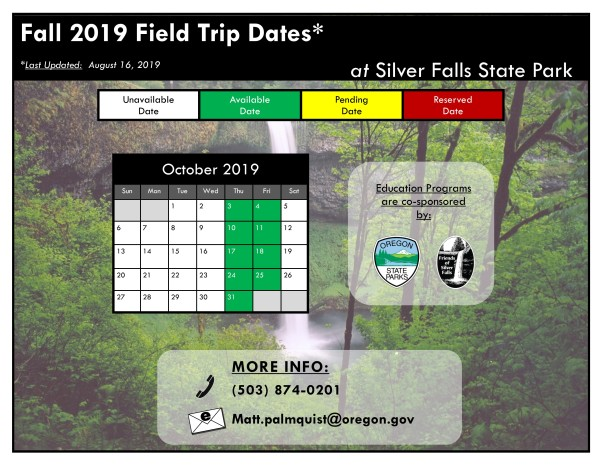 Fall 2019 Available Field Trips