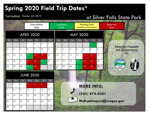2020 Spring Available Dates